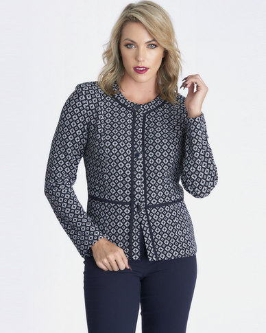 Contempo Fitted Jacket with Pipping Navy