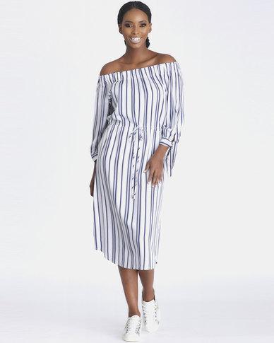 Contempo Off Shoulder Stripe Dress White