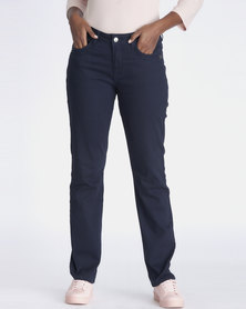 Contempo Fashion Trousers with Topstich Navy