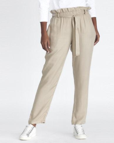 Contempo Paperbag Pants Stone