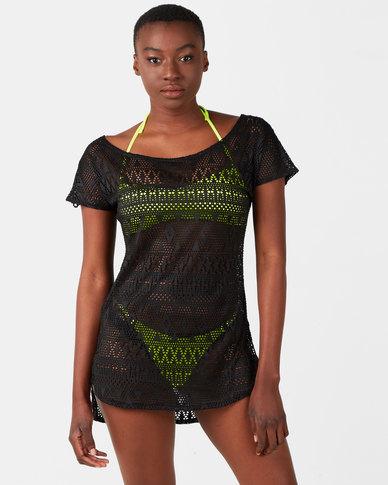 Sissy Boy Crochet Lace Cover Up Black