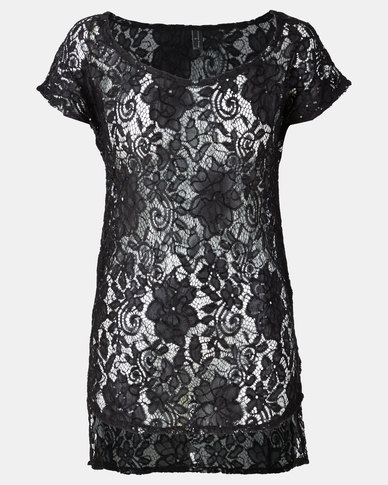 Sissy Boy Sequin Crochet Lace Cover Up Black