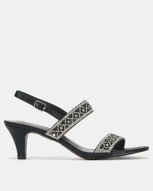 Queenspark High Heel Double Strap Glamour Sandals Black