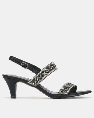 347d6c10abcca Queenspark High Heel Double Strap Glamour Sandals Black
