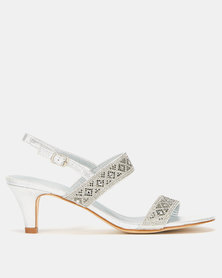 Queenspark Double Strap Silver Glamour Sandals