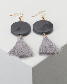 Jewels and Lace Grey Wood Tassel Drop Earrings