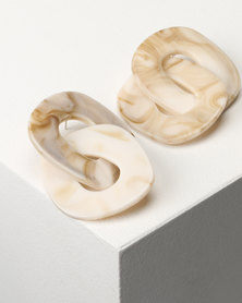 Jewels and Lace Perspex Statement Link Earrings Cream