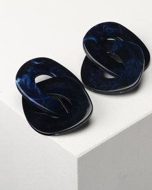 Jewels and Lace Perspex Statement Link Earrings Navy