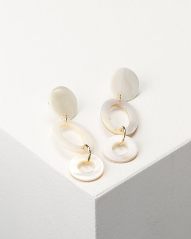 Jewels and Lace Shell Statement Drop Earrings Ivory