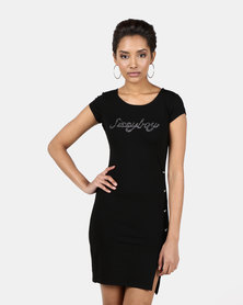 Sissy Boy One Up Logo Black Dress With Side Button Detailing