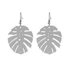 We Heart This Silver Monstera Drop Earrings