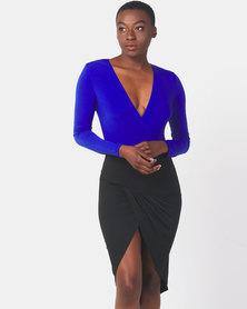 AX Paris Long Sleeve 2 in 1 Dress Blue