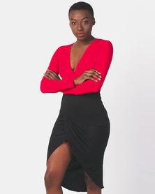 AX Paris Long Sleeve 2 in 1 Dress Red