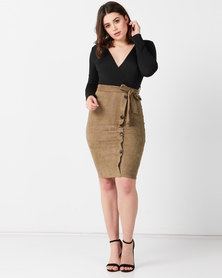 AX Paris 2 in 1 Suede Dress Khaki