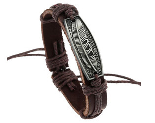 Urban Charm Leather Bracelet Antique Silver Plate - Feather