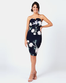 AX Paris Floral Print Front Notch Bodycon Dress Navy