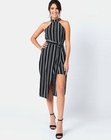AX Paris Pin Striped Wrap Skirt Cut In Neck Dress Black