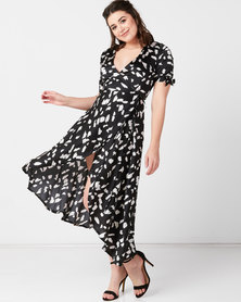 AX Paris Wrap Around Print Midi Dress Black