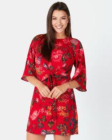 AX Paris Floral Print Tie Front Shift Dress Red
