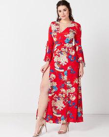 AX Paris Floral Print Dress With Leg Split Red