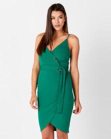AX Paris Button Front Detail Dress Green