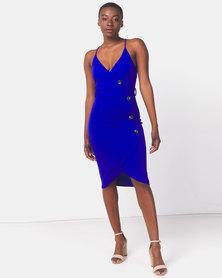 AX Paris Button Front Detail Dress Cobalt Blue