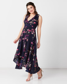AX Paris Floral Dip Hem Dress Navy