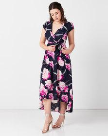 AX Paris Floral Tie-Waist Dress Navy
