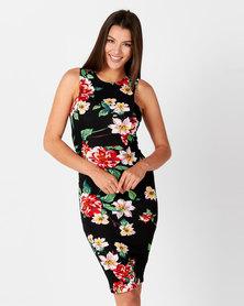 AX Paris Floral Bodycon Dress Black