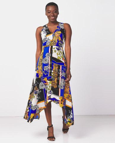 AX Paris Scarf Print Maxi Dress Blue
