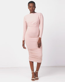 AX Paris Mushroom Off Shoulder Ruched Dress Nude