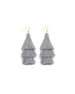 We Heart This Triple Grey Tassel Drop Earrings