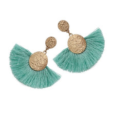 We Heart This Mint and Gold Tassel Drop Earrings