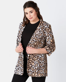 Liquorish Leopard Print Blazer Jacket 3/4 Sleeve Length