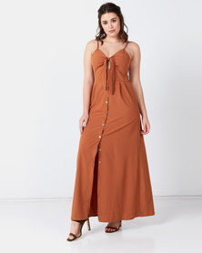 Liquorish Bow Front Through A Line Maxi Dress Mocca