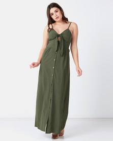 Liquorish Bow Front Through A Line Maxi Dress Green