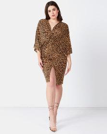 Liquorish Animal Print Dress With Front Split Brown