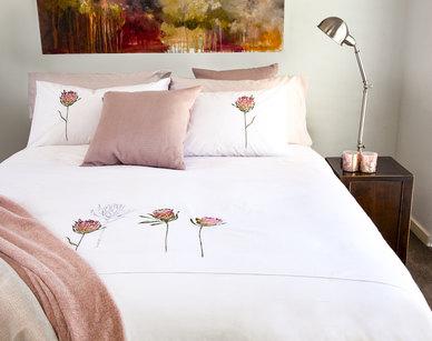 Bella Linen Protea Embroidered Cotton Percale Duvet Set White - King