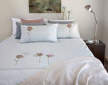Bella Linen Protea Embroidered Cotton Percale Duvet Set Duck-egg - Super King