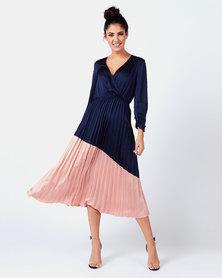 Liquorish Pleated Wrap Dress Pink and Navy