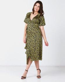 Liquorish Leopard Dress Green
