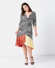 Liquorish Leoapard Print Wrap Dress Black