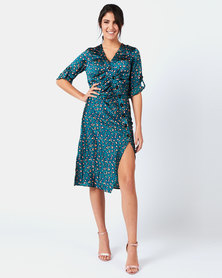 Liquorish Leopard Midi Dress Green