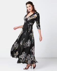 Liquorish Maxi Bird Print Dress Black