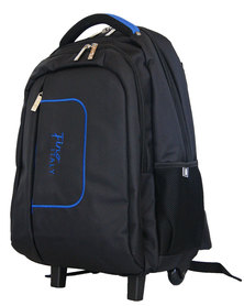 Fino 15 inch Water Proof Nylon Laptop Trolley Backpack-Black/blue