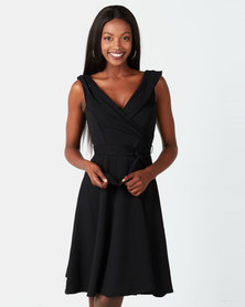 City Goddess London Cross Over Midi Dress Black