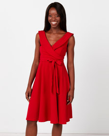 City Goddess London Cross Over Midi Dress Red