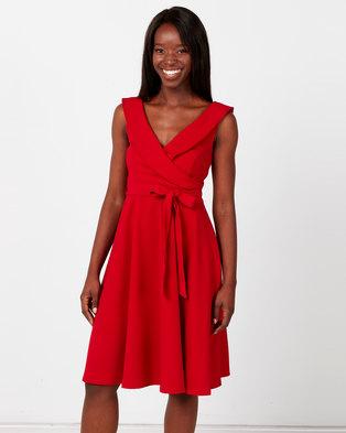 City Goddess London Cross Over Midi Dress Red