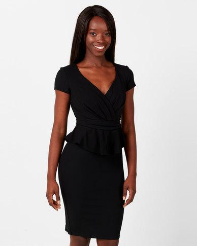 City Goddess London Peplum Short Sleeve Midi Dress Black
