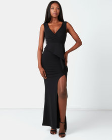 City Goddess London Folded Peplum Maxi Dress Black
